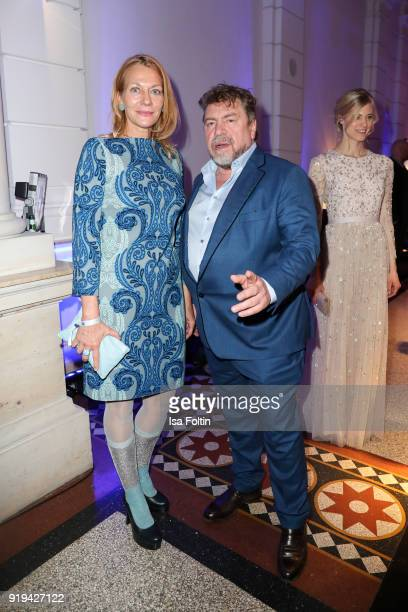 German actress Karen Boehne german actor Armin Rohde and Larissa Marolt attends the Blue Hour Reception hosted by ARD during the 68th Berlinale...