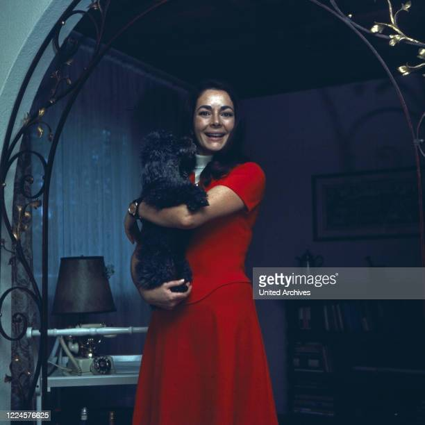 German actress Karin Dor with a poodle Germany 1960s