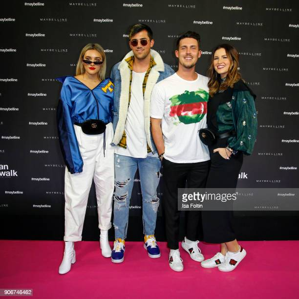 German actress Katharina Damm Youtube star Maren Wolf with her husband Tobias Wolf and guest during the Maybelline Show 'Urban Catwalk Faces of New...