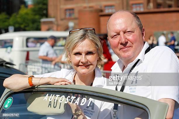 German actress Katharina Schubert and Otto Ferdinand Wachs CEO Autostadt GmbH attend the first day of the HamburgBerlin Klassik Rallye on August 25...