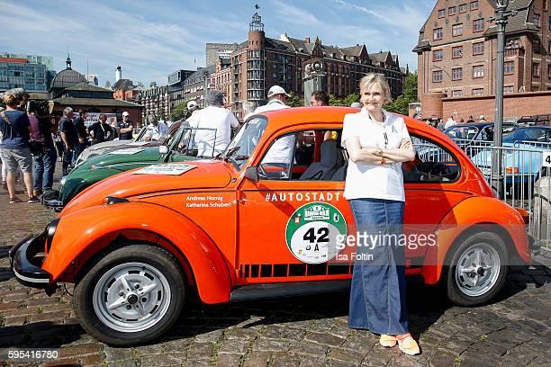 German actress Katharina Schubert attends the first day of the HamburgBerlin Klassik Rallye on August 25 2016 in Hamburg Germany