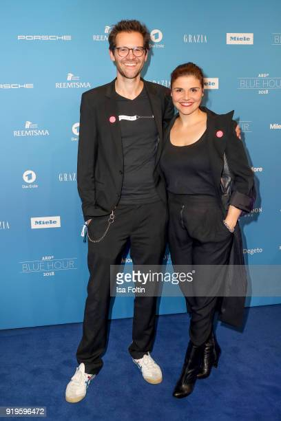German actress Katharina Wackernagel and her brother director Jonas Grosch attend the Blue Hour Reception hosted by ARD during the 68th Berlinale...