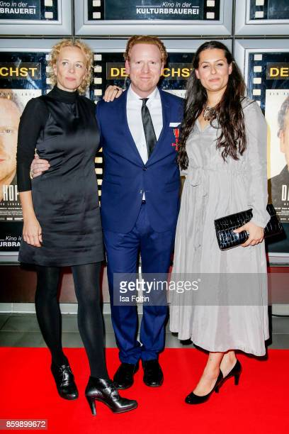 German actress Katja Riemann violinist Daniel Hope and his wife Silvana Hope attend the premiere of 'Der Klang des Lebens' at Kino in der...