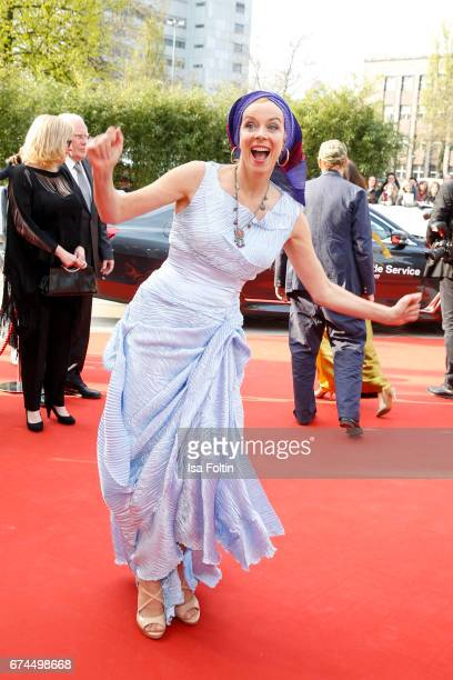 German actress Katja Riemann wearing a dress by Nanna Kuckuck during the Lola German Film Award red carpet arrivals at Messe Berlin on April 28 2017...