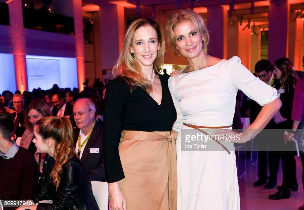 German actress Kristin Meyer and German presenter Kerstin Linnartz attend the 19th Media Award by Kindernothilfe on November 3 2017 in Berlin Germany