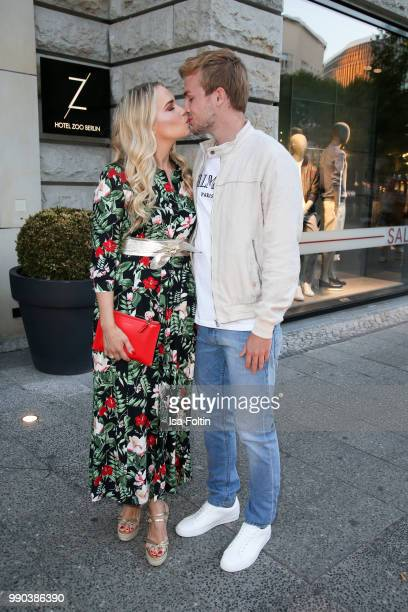 German actress LaraIsabelle Rentinck and her husband German soccer player Cimo Roecker during the Bunte New Faces Night at Grace Hotel Zoo on July 2...