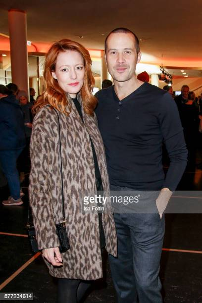 German actress Lavinia Wilson and her husband German actor Barnaby Metschurat attend the premiere of 'Der Mann aus dem Eis' at Zoo Palast on November...