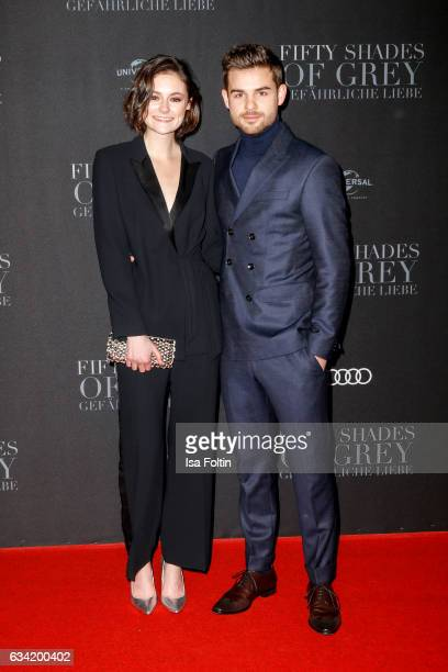 German actress Lea van Acken and german actor Lucas Reiber attend the European premiere of 'Fifty Shades Darker' at Cinemaxx on February 7 2017 in...