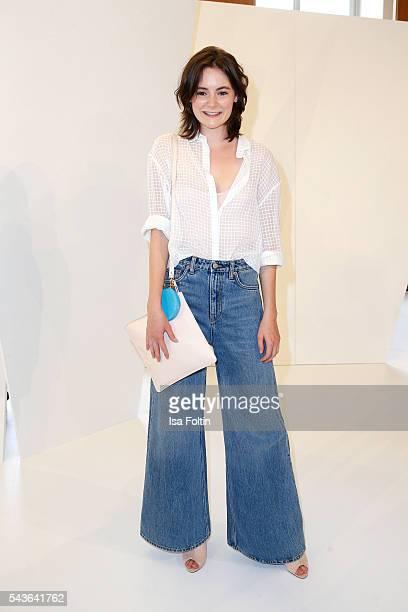 German actress Lea van Acken attends the Malaikaraiss defilee during the Der Berliner Mode Salon Spring/Summer 2017 at Kronprinzenpalais on June 28,...