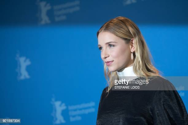 German actress Lena Klenke poses during the photo call for the film The silent revolution presented in the Berlinale Special Gala category during the...