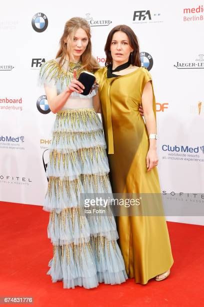 German actress Lilith Stangenberg and german actress Nicolette Krebitz during the Lola German Film Award red carpet arrivals at Messe Berlin on April...