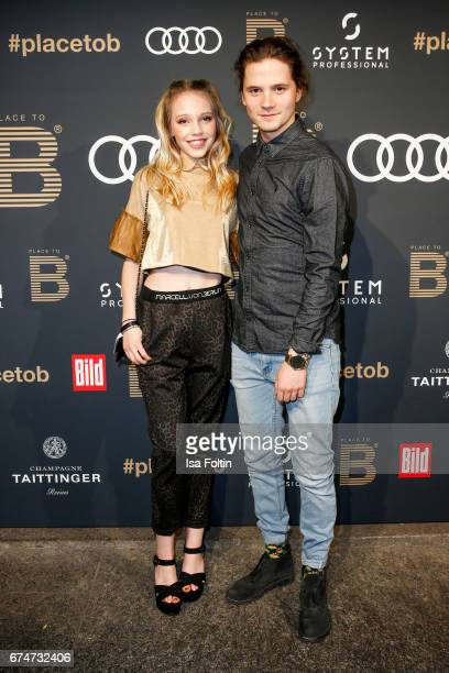 German actress Lina Larissa Strahl and her boyfriend Tilman Poerzgen attend the Place To Be Party after the Lola German Film Award on April 28 2017...