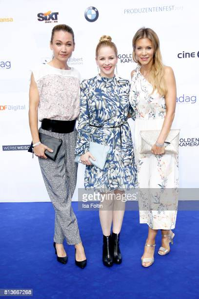 German actress Lisa Maria Potthoff German actress Jasmin Schwiers and German actress NinaFriederike Gnaedig attend the summer party 2017 of the...