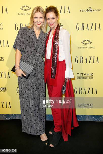 German actress Lisa Martinek and Sissi Raschet attend the Grazia Fashion Dinner at Titanic Deluxe Hotel on January 16 2018 in Berlin Germany