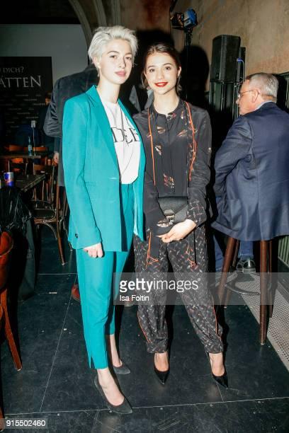 German actress LisaMarie Koroll and her sister LaraSophie Koroll attend the 'Heilstaetten' premiere at Delphi on February 7 2018 in Berlin Germany