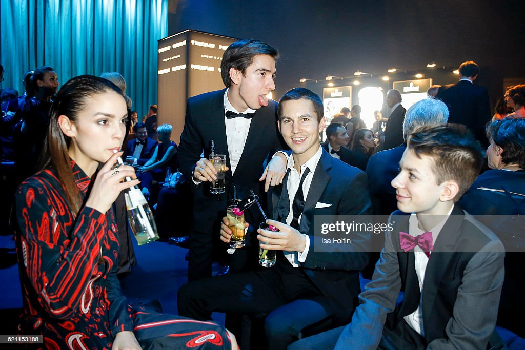 German actress Luise Befort, german actor Ivo Kortlang, german actor Tim Oliver Schultz and german actor Nick Julius Schuck (Club der roten Baender) pose at the Bambi Awards 2016 party at Atrium Tower on November 17, 2016 in Berlin, Germany.