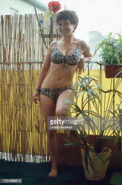 German actress Margot Mahler wearing a bikini, Germany, 1970s.