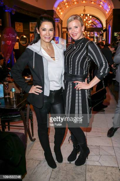 German actress Mariella Ahrens and German actress Eva Habermann attend the Blaue Blume Awards at Restaurant Grosz on February 6 2019 in Berlin Germany