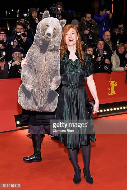 German actress Marleen Lohse poses with a paper bear ahead of the closing ceremony of the 66th Berlinale International Film Festival on February 20,...