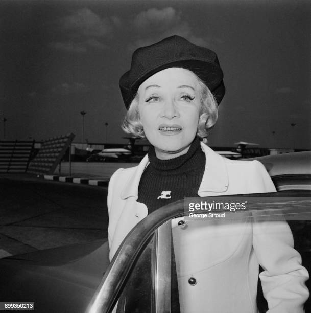 German actress Marlene Dietrich arrives at London Airport UK 12th September 1971 She is booked for a solo charity performance at Drury Lane