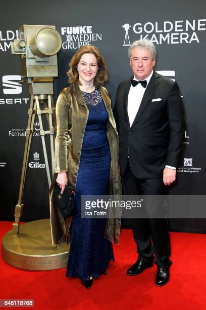 German actress Martina Gedeck and her husband Markus Imboden arrive for the Goldene Kamera on March 4 2017 in Hamburg Germany