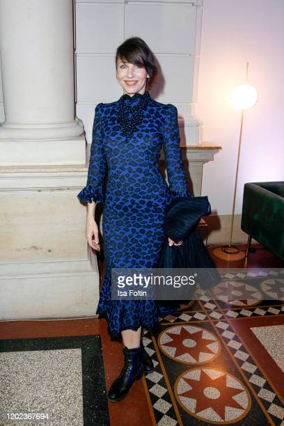 German actress Meret Becker attends the Blue Hour Party hosted by ARD during the 70th Berlinale International Film Festival at Museum der...