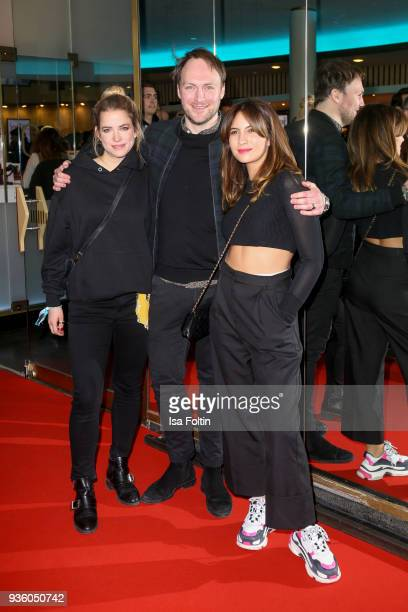 German actress Merle Collet German actor Martin Stange and German actress Chryssanthi Kavazi during the 'Jerks' premiere at Zoo Palast on March 21...