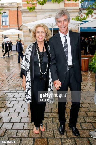 German actress Michaela May and her husband Bernd Schadewald attend the Bayreuth Festival 2017 Opening on July 25, 2017 in Bayreuth, Germany.