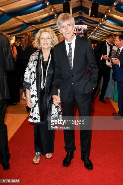 German actress Michaela May and her husband Bernd Schadewald during the Bayreuth Festival 2017 State Reception at Neues Schloss on July 25, 2017 in...