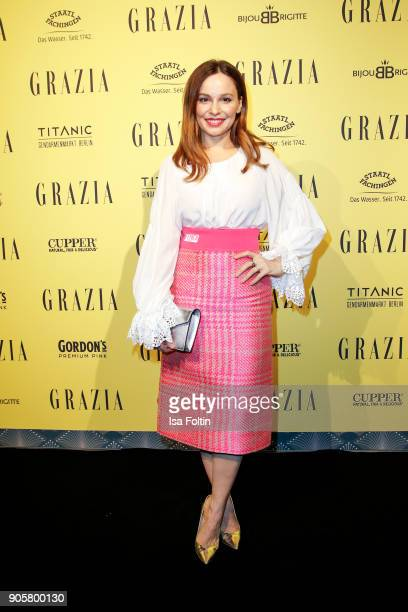 German actress Mina Tander attends the Grazia Fashion Dinner at Titanic Deluxe Hotel on January 16 2018 in Berlin Germany