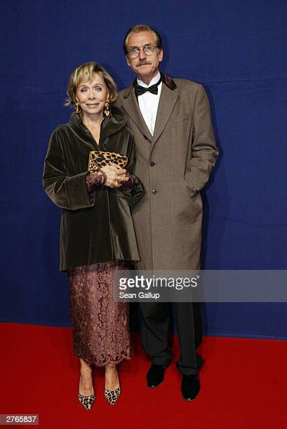 German actress Monika Peitsch and friend Dr HansenHoechtedt attend The Bambi Awards November 27 2003 in Hamburg Germany