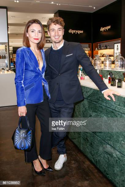 German actress Nadine Warmuth and model Simon Lohmeyer during the Alsterhaus Beauty Opening 'Die Neue Schönheit' on October 13 2017 in Hamburg Germany