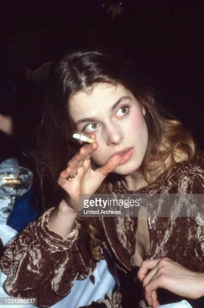German actress Nastassja Kinski having a cigarette Germany 1980s