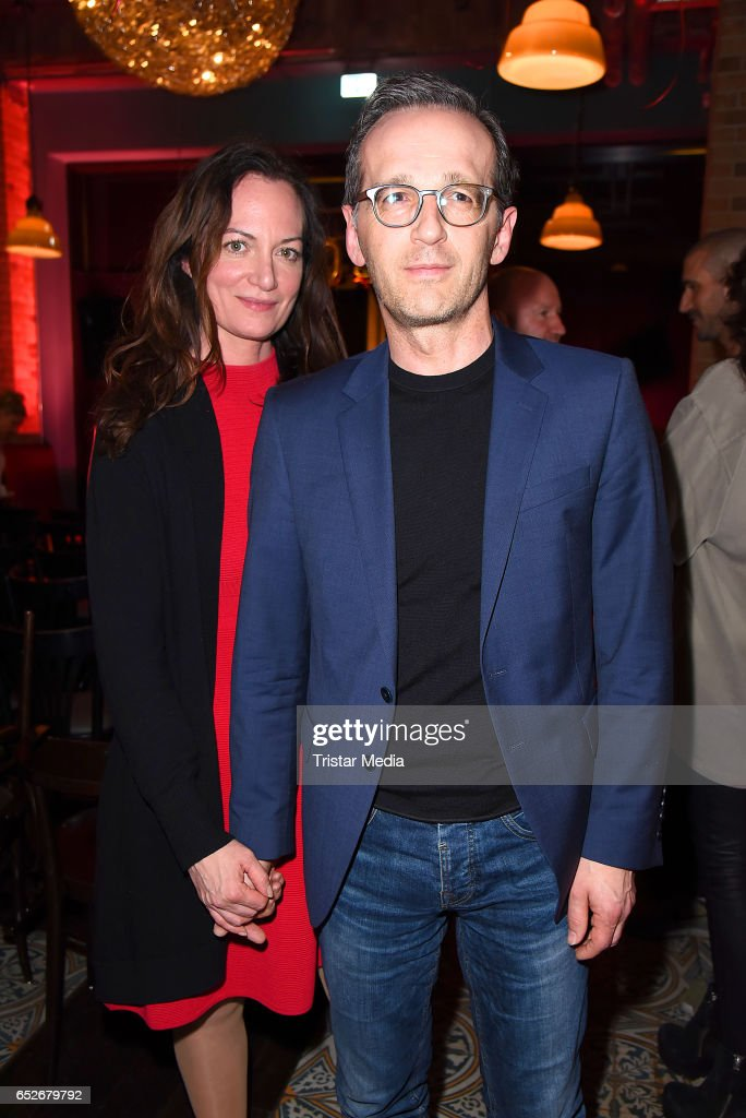 German actress Natalia Woerner and her boyfriend german federal minister of justice Heiko Maas attend the Private Soul Foods Presents Max Mutzke at Restaurant Centolire on March 12, 2017 in Berlin, Germany.