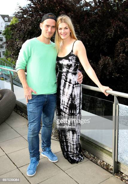 German actress Nina Bott and her partner Benjamin Baarz attend the Aspria Sommerparty on June 17 2017 in Hamburg Germany