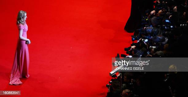 German actress Nina Hoss poses on the red carpet of the opening film of the Berlinale film festival 'Yi dai zong shi' in Berlin on February 7 2013...