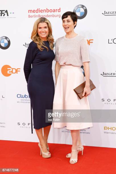 German actress Nina Kunzendorf and german actress and comedian Anke Engelke during the Lola German Film Award red carpet arrivals at Messe Berlin on...