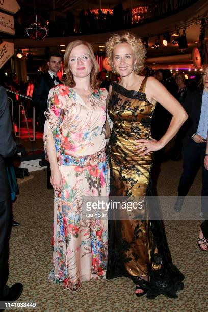 German actress Nina Petri and German actress Katja Riemann attend the Lola German Film Award Party at Palais am Funkturm on May 3 2019 in Berlin...