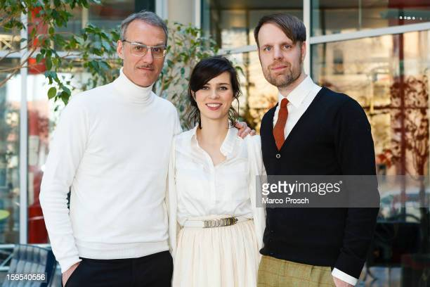 German actress Nora Tschirner poses with members of her band Prag on January 15 2013 in Halle Germany