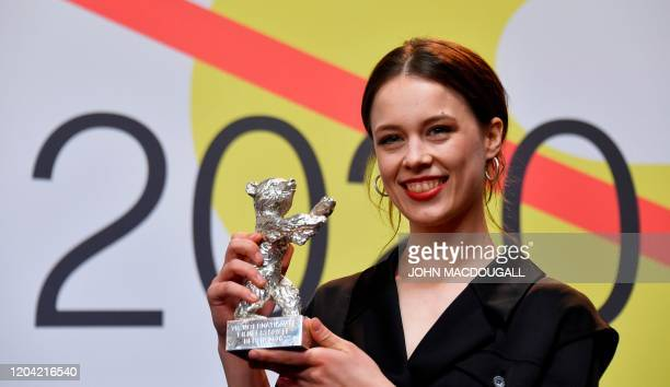 German actress Paula Beer winner of the Silver Bear for Best Actress attends a press conference after the awarding ceremony of the 70th Berlinale...