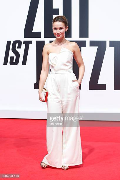 German actress Peri Baumeister attends the 'Unsere Zeit ist jetzt' World Premiere at CineStar on September 27 2016 in Berlin Germany