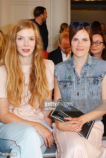 German actress Pheline Roggan and german actress Fritzi Haberlandt attend the Malaikaraiss defilee during the Der Berliner Mode Salon Spring/Summer...