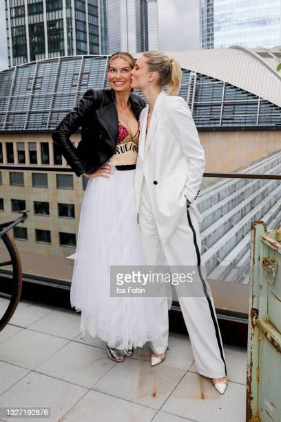 German actress Rebecca Kunikowski and model Kim Hnizdo attend the Bunte New Faces Award Style on July 5, 2021 in Frankfurt am Main, Germany.