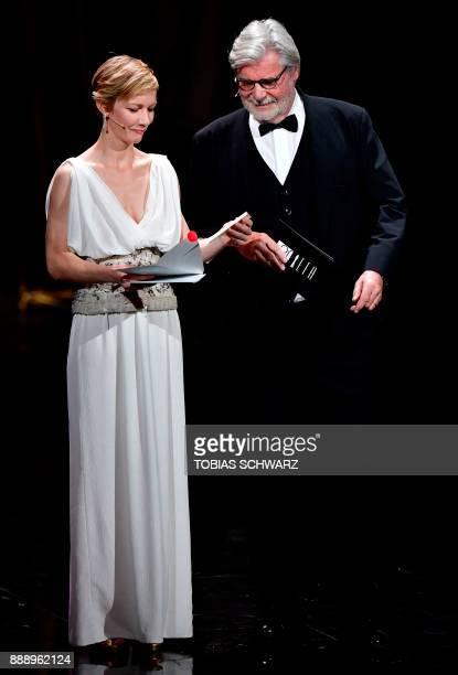 German actress Sandra Hueller and Austrian actor Peter Simonischek announce the European actor 2017 during the 30th European Film Awards ceremony in...