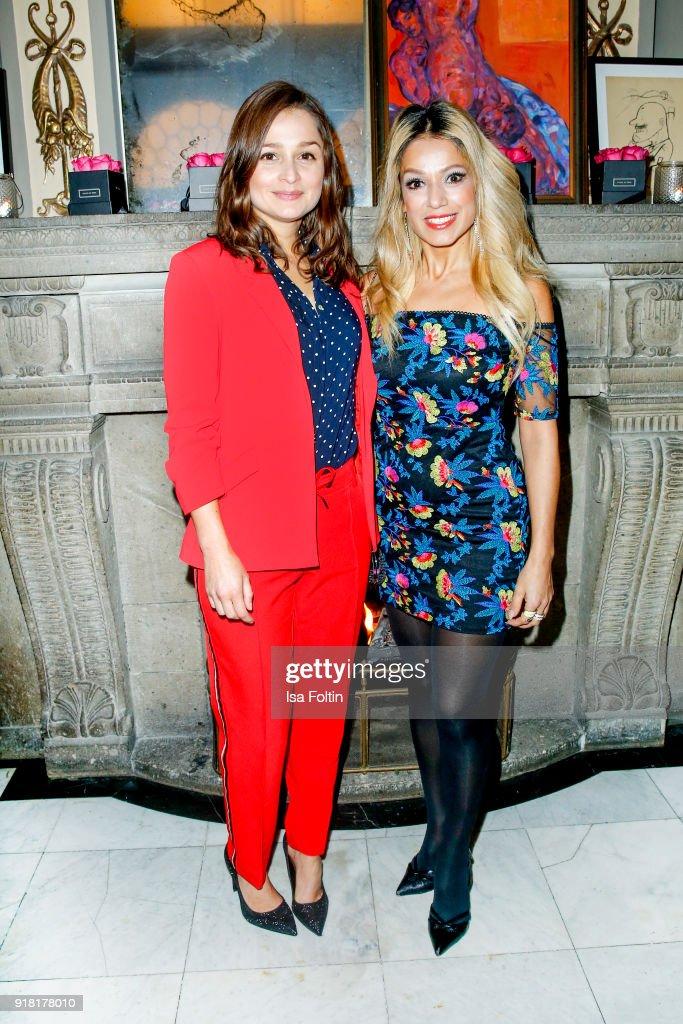 German actress Sarah Alles and German actress Shirin Tabatabai attend the Blaue Blume Awards 2018 at Grosz on February 14, 2018 in Berlin, Germany.