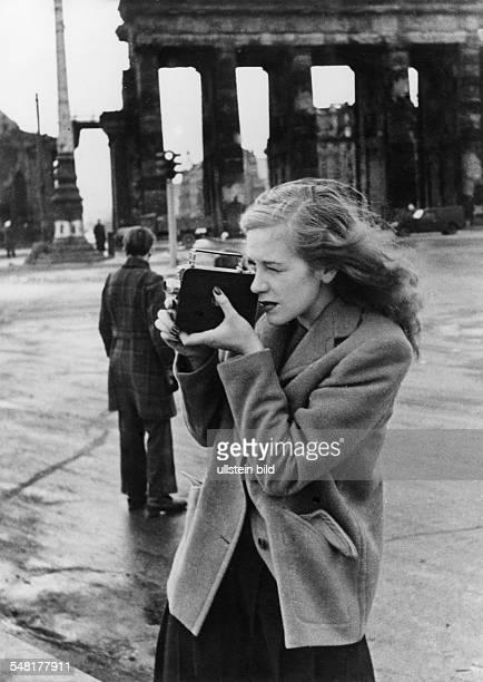 HILDEGARD KNEF German actress singer and writer Photographed at the Brandenburg Gate in Berlin 1947