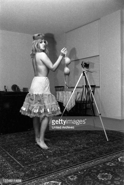 German actress Sissy Engl posing at a photo shoot, Germany, 1960s.