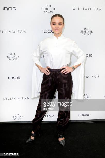 German actress Sonja Gerhardt arrives at the William Fan Defile during 'Der Berliner Salon' Autumn/Winter 2019 at Knutschfleck on January 15 2019 in...