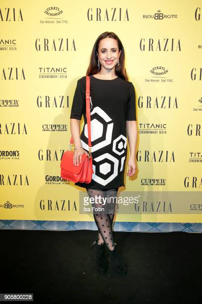 German actress Stephanie Stumph attends the Grazia Fashion Dinner at Titanic Deluxe Hotel on January 16, 2018 in Berlin, Germany.