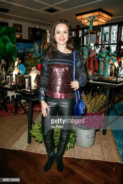 German actress Stephanie Stumph attends the Thomas Sabo Press Cocktail during the Mercedes-Benz Fashion Week Berlin A/W 2018 at China Club on January...